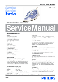 Service Manual Philips Mistral GC2225