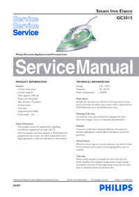 Service Manual Philips Elance GC3015