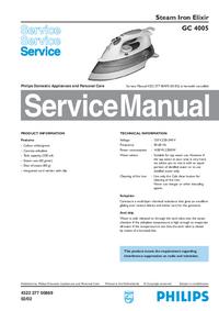 Manuale di servizio Philips Elixir GC 4005