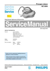Руководство по техническому обслуживанию Philips Elance GC 6004