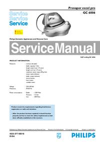 Servicehandboek Philips excel pro GC 6006