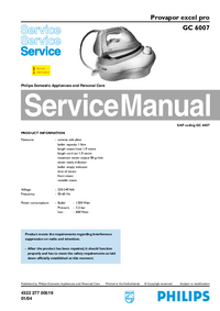 Manual de servicio Philips excel pro GC 6007