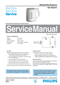 Manual de servicio Philips Essence HD 4652/41