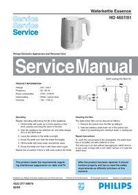 Manual de servicio Philips Essence HD 4657/01