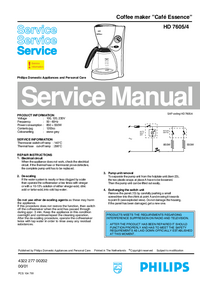 Service Manual Philips Café Essence HD 7605/4