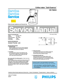 Service Manual Philips Café Essence HD 7605/8