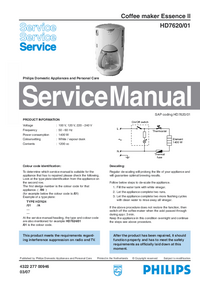 Servicehandboek Philips Essence II HD7620/01