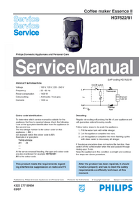 Servicehandboek Philips Essence II HD7622/81