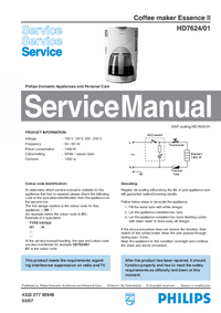 Manual de servicio Philips Essence II HD7624/01