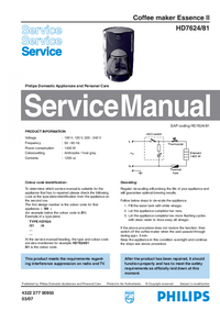 Service Manual Philips Essence II HD7624/81
