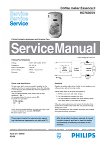 Servicehandboek Philips Essence II HD7630/01