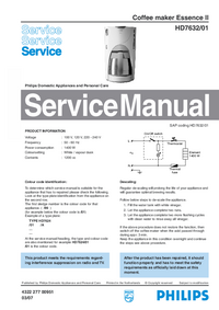 Servicehandboek Philips Essence II HD7632/01