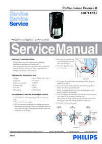 Руководство по техническому обслуживанию Philips Essence II HD7632/61