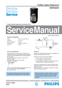 Manual de serviço Philips Essence II HD7634/81