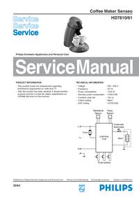 Servicehandboek Philips Senseo HD7810/61