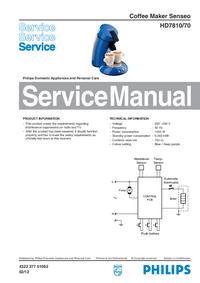 Manuale di servizio Philips Senseo HD7810/70