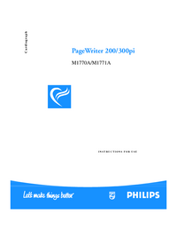 User Manual PhilipsMedical PageWriter 300pi M1771A