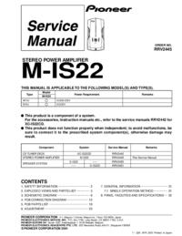 Manual de servicio Pioneer M-IS22
