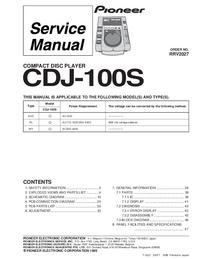 Руководство по техническому обслуживанию Pioneer CDJ-100S