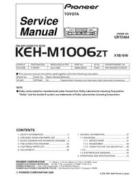 Manual de serviço Pioneer KEH-M1006ZT X1B/EW