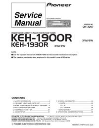 Service Manual Pioneer KEH-1930R X1M/EW
