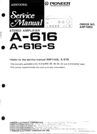 Service Manual Supplement Pioneer A-616-S