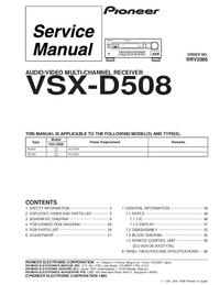 manuel de réparation Pioneer VSX-D508