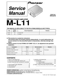 Руководство по техническому обслуживанию Pioneer M-L11