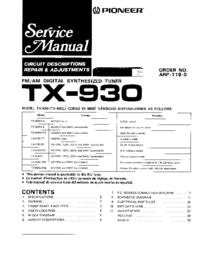 Руководство по техническому обслуживанию Pioneer TX-930