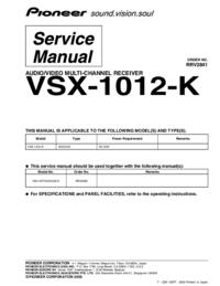 Suplemento Manual de servicio Pioneer VSX-1012-K