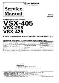 Service Manual Supplement Pioneer VSX-295