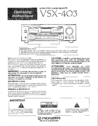 Manual do Usuário Pioneer VSX-403