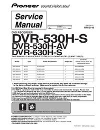 manuel de réparation Pioneer DVR-530H-S