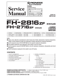 Service Manual Pioneer FH-2816ZF X1H/UC