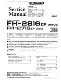 Manual de serviço Pioneer FH-2816ZF X1H/UC