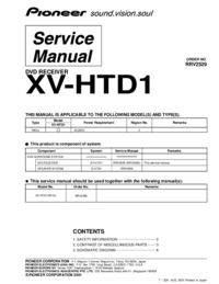 Instrukcja serwisowa Pioneer XV-HTD1