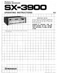 Manuel de l'utilisateur Pioneer SX-3900