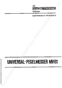Instrukcja obsługi Pracitronic MV 61