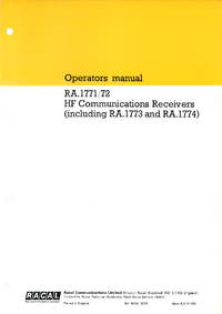 manuel de réparation Racal 1773