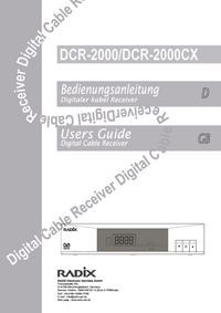 User Manual Radix DCR-2000CX