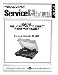 Руководство по техническому обслуживанию Realistic LAB-400