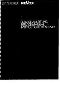 Руководство по техническому обслуживанию Revox A700