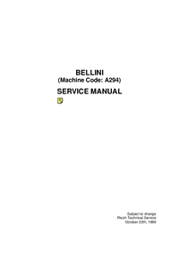 Manual de servicio Ricoh BELLINI