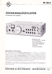 Технический паспорт RohdeUndSchwarz ED20/2