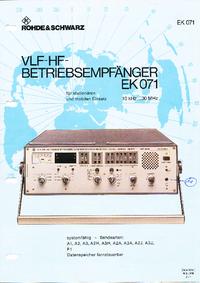 Datasheet RohdeUndSchwarz EK 071