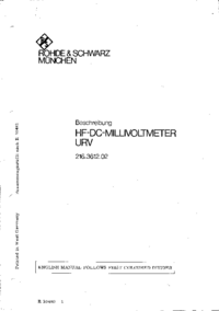 Service and User Manual RohdeUndSchwarz URV 216.3612.02