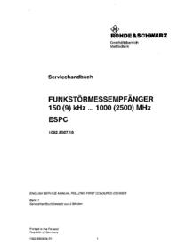 manuel de réparation RohdeUndSchwarz ESPC 1082.8007.10