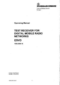 Bedienungsanleitung RohdeUndSchwarz ESVD 1026.5506.10