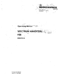 Manuel de l'utilisateur RohdeUndSchwarz FSB 848.0020.52