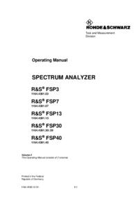 User Manual RohdeUndSchwarz FSP3 1164.4391.03